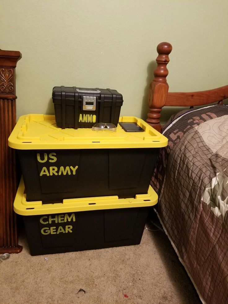Army Room Decor Idea. Very Inexpensive. The Small Box Is A Tackle Box.