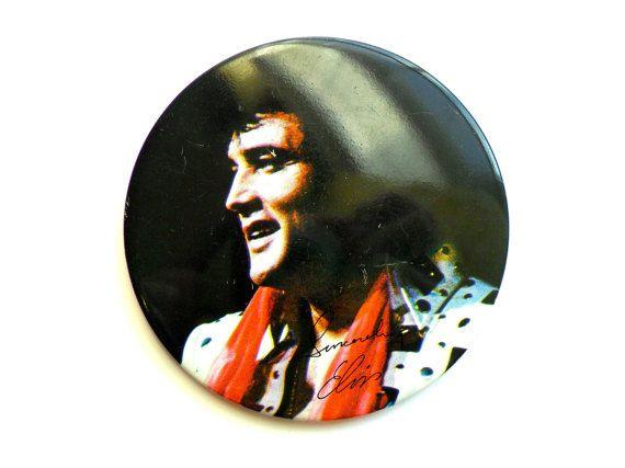 Vintage Elvis Button Oversize Big Large Fan by LaVieHippie on Etsy