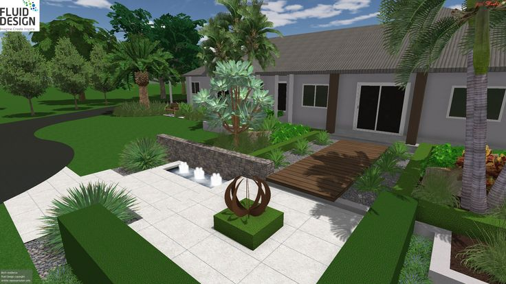 Front entry garden courtyard w/ stone feature wall & pond, corten steel sphere sculpture & timber boardwalk.