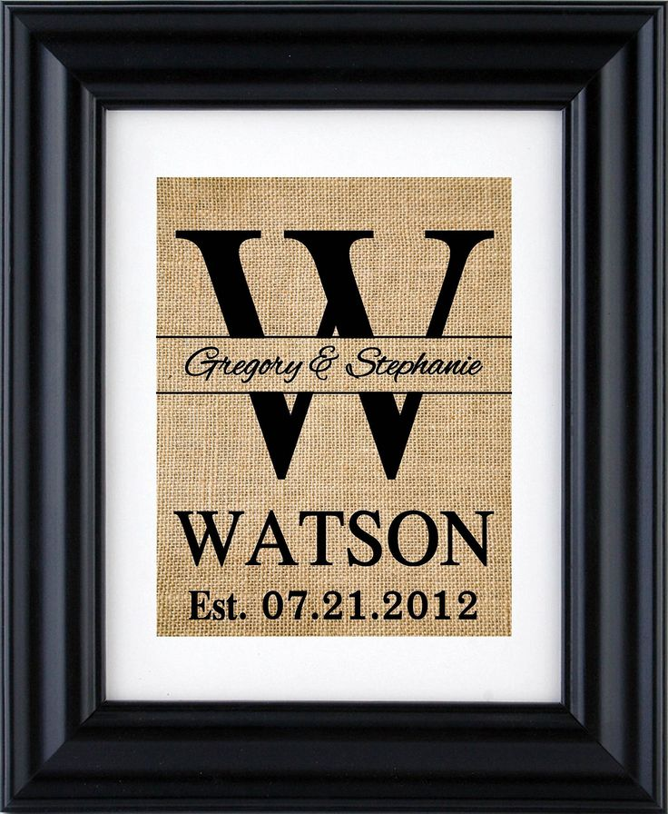 Monogram Burlap Print - gift for couple- Wedding gift, Anniversary gifts, Monogram sign Wedding decor, Family Name Monogram Sign - 1Y (Frame and mat NOT Included). Monogram sign with the couple name in the middle of the monogram and last name is beneath the monogram followed by the established date, this burlap print makes a beautiful, inexpensive and a creative way for rustic decor, these prints are great for any occasions like engagement gift, bridal shower gift, housewarming gift, and...