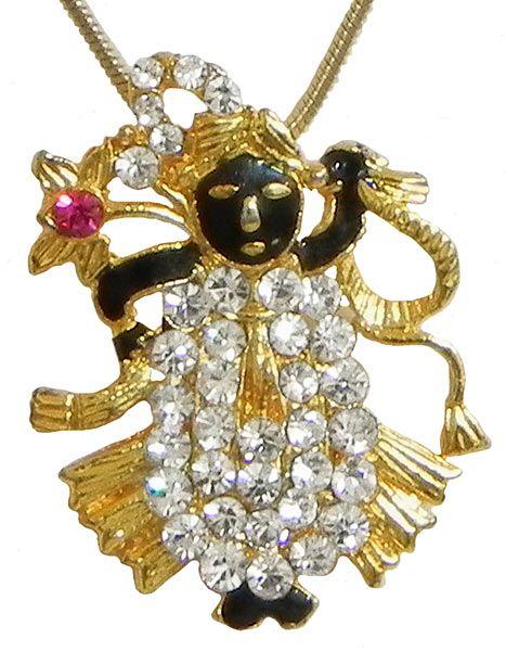 Gold Plated and Stone Studded Srinathji Pendant (Metal)