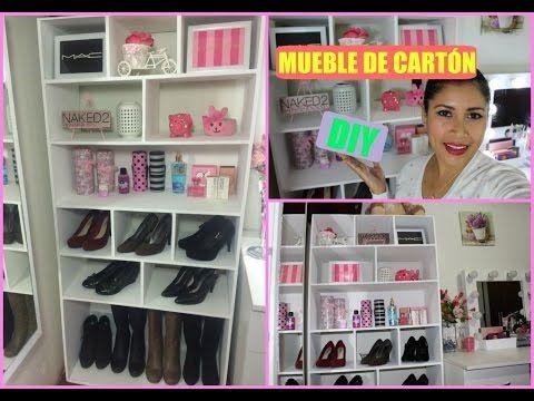 DIY MUEBLE ORGANIZADOR ELABORADO CON CARTON - YouTube