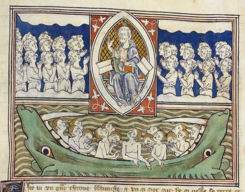 Detail of a miniature showing the Last Judgement, from the 'Queen Mary Apocalypse', England (London or East Anglia), first quarter of the 14th century, Royal MS 19 B XV, f. 40