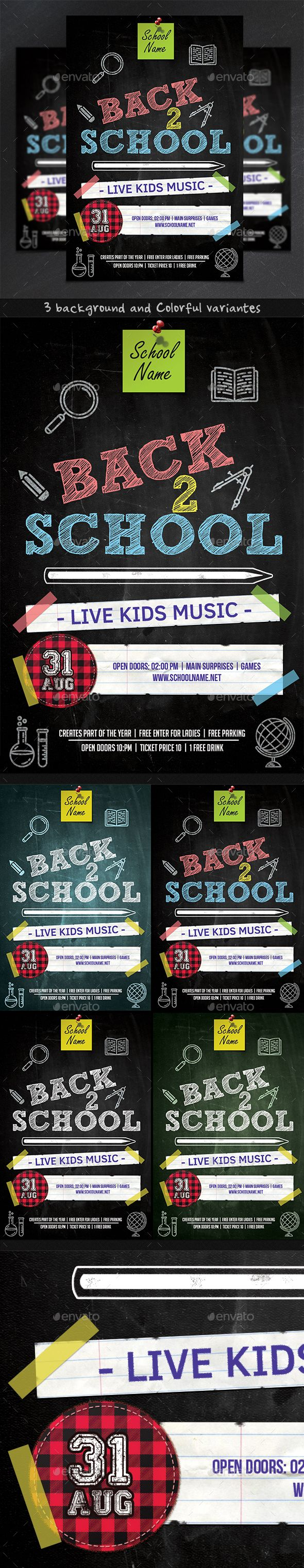 Back to School Flyer   PSD Template • Download ➝ https://graphicriver.net/item/back-to-school-flyer-template/17028627?ref=pxcr