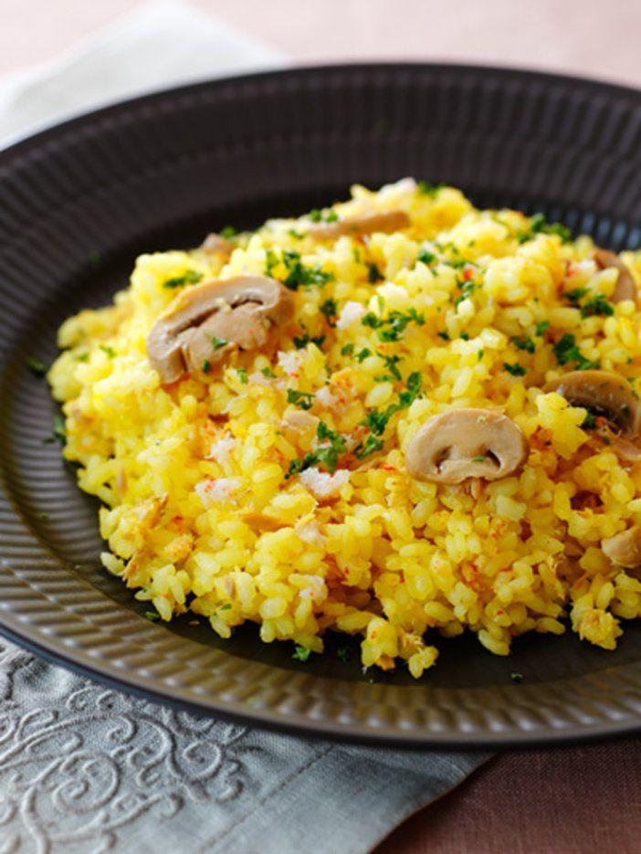 かにとツナのうま味がミックス! サフランで本格的な味わいに|『ELLE gourmet(エル・グルメ)』はおしゃれで簡単なレシピが満載!