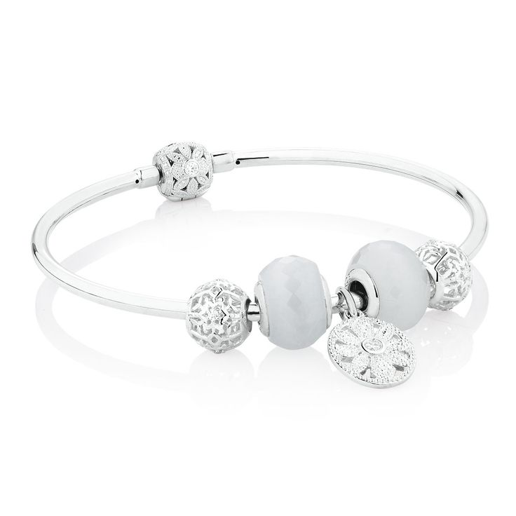 Starter Charm Bangle with Cubic Zirconia & Glass in Sterling Silver