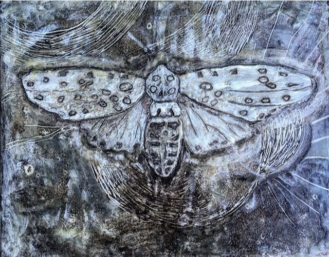 Tracie Noles-Ross - LEOPARD MOTH    monotype and encaustic on board    5×7 inches