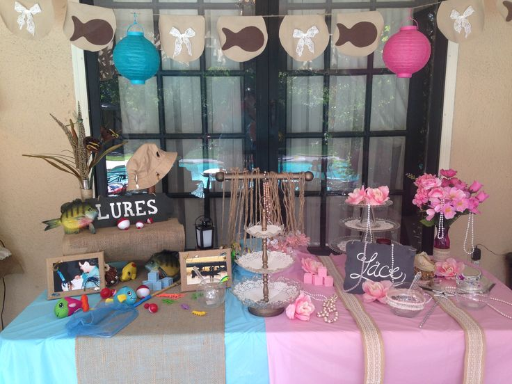 31 best lures or lace reveal party images on pinterest for Fishing gender reveal ideas