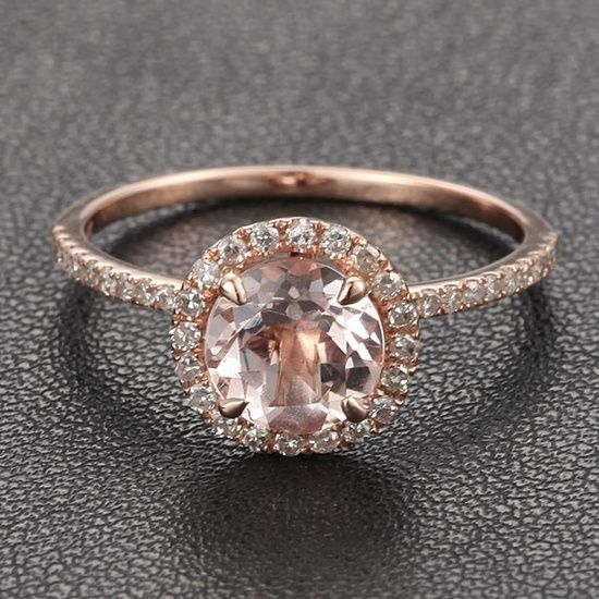 HALO 7mm Morganite .27ct Pave Diamond Claw Prongs 14K Rose Gold Engagement Ring