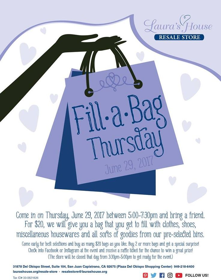 Our Fill-a-Bag sales are the best!  Come in on June 29, 2017 and enjoy a fun evening with wonderful clothes, shoes, accessories and more to select from!  Laura's House Resale Store in San Juan Capistrano, CA