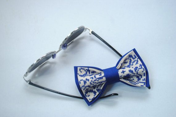 Embroidered Electric blue bow tie Summer wedding от accessories482