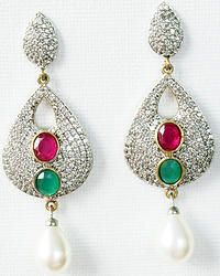 Hand-crafted brass metal chandleliers finely studded with cubic zirconia (American diamond) stones.  Size: 62mm x 22mm