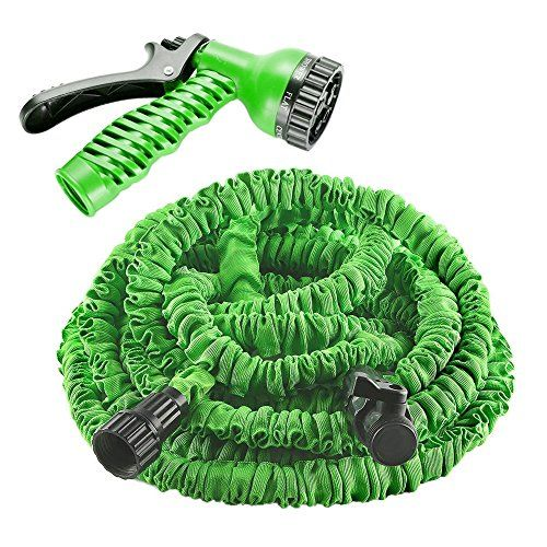 Garden Hose, izery Flexible Expandable Expanding Collapsible Garden & Lawn Water Hose with Free 7-way Spray Nozzle for Car Wash Cleaning Watering Lawn Garden Plants (Green) (25ft)  Automatically expands when water is turned on. Expandable and flexible garden hose. Expanding or Collapsible Hose is not only stronger but saves up to 50% of your space.  Comes with a high quality spray nozzle with 7 adjustable patterns and latex hose, excellent corrosion resistance and durable quality  Ligh...