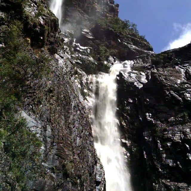 Cachoeira Rabo de Cavalo com 3 quedas 120 50 e 80 metros na Serra do Intendente - Conceição do Mato Dentro - MG