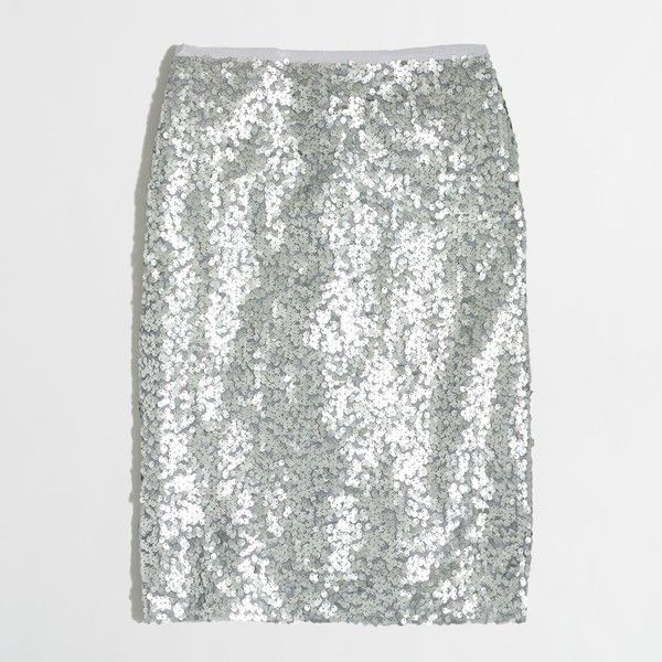 J.Crew Factory petite sequin pencil skirt ($98) ❤ liked on Polyvore featuring skirts, j. crew skirts, j.crew, petite pencil skirt, white sequin skirt and petite skirts