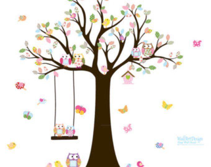 Scuola materna albero decalcomania con gufi uccelli Swing farfalle, adesivo da parete, Decalcomanie da muro