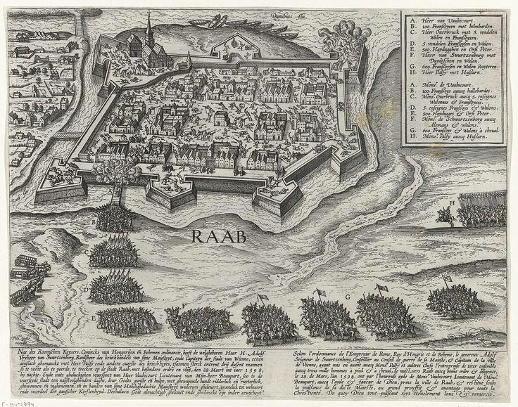 Philips Galle | Verovering van Raab, 1598, Philips Galle, 1598 - 1612 | Verovering van Raab (Javarin of Gyor) in Hongarije aan de Donau door de Christenen op de Turken, 28 maart 1598. De prent heeft een legende met letters en een Nederlands en Frans onderschrift.