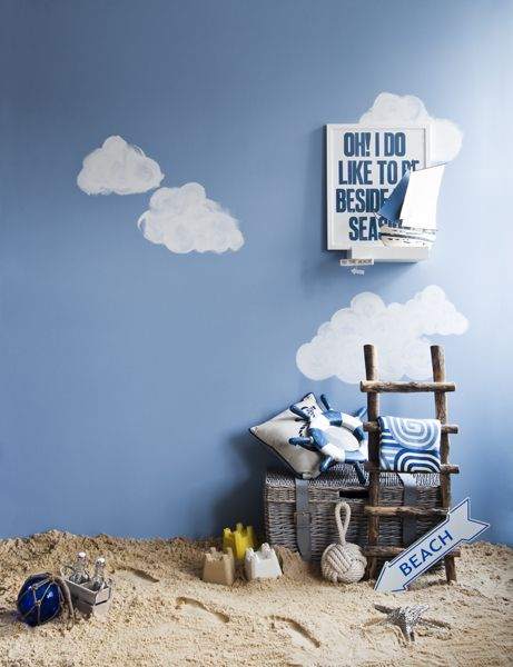 Paint some clouds on the blue wall???
