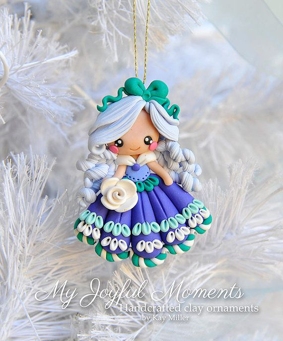 Handcrafted Polymer Clay Girl Ornament por MyJoyfulMoments en Etsy