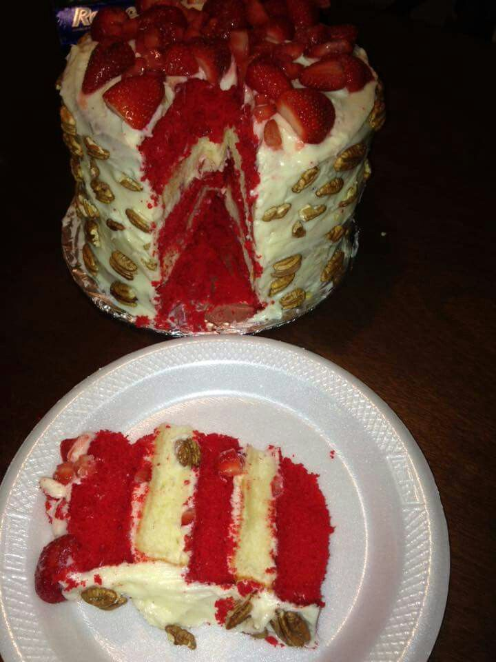 Red Velvet Strawberry Shortcake w/ Cream Cheese Icing