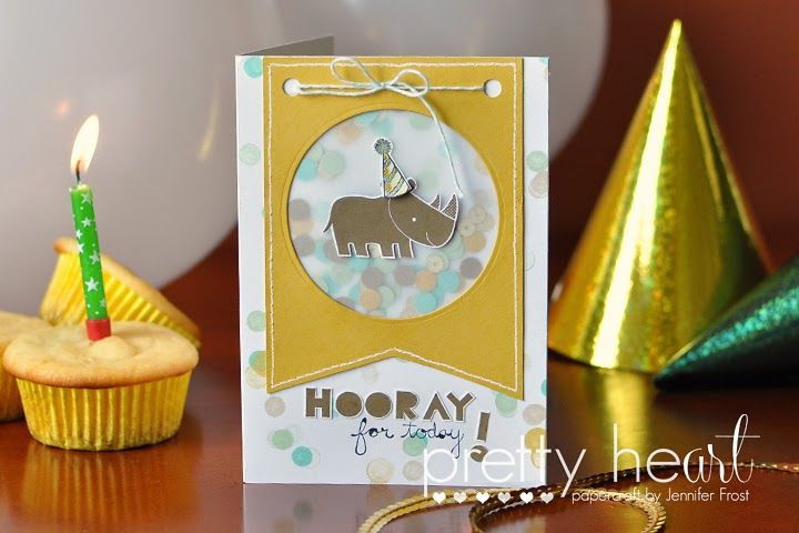 A rhino with a party hat. Does it get any cuter?Cards Baby'S Kids, Confetti Cards, 2014 2015 Stampin, Birthday Stamps, Birthdays, Cards I Oh, Happy Birthday Cards, Baby Confetti, Zoos Baby