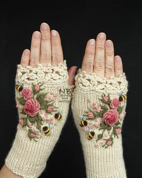 Ivory Knitted Fingerless Gloves With Roses, Rose, Pastel Pink, Bees, Clothing And Accessories, Gloves & Mittens, Gift Ideas, For Her  Knitted Fingerless GlovesIvory Roses Rose Pastel Pink