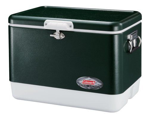 Coleman 54-Quart Steel-Belted Cooler, Green by Coleman. $106.69. Stainless-steel handles with rubber grip for easy carrying; Holds 85 cans; Easy-to-clean base, lid & liner; Solid steel latch securely seals contents; Rustproof, leak-resistant channel drain for no-tilt draining. The Coleman Steel-Belted Cooler combines the classic, world-famous Coleman design with the long-lasting strength and durability of stainless steel construction. The 54-Quart Cooler holds...