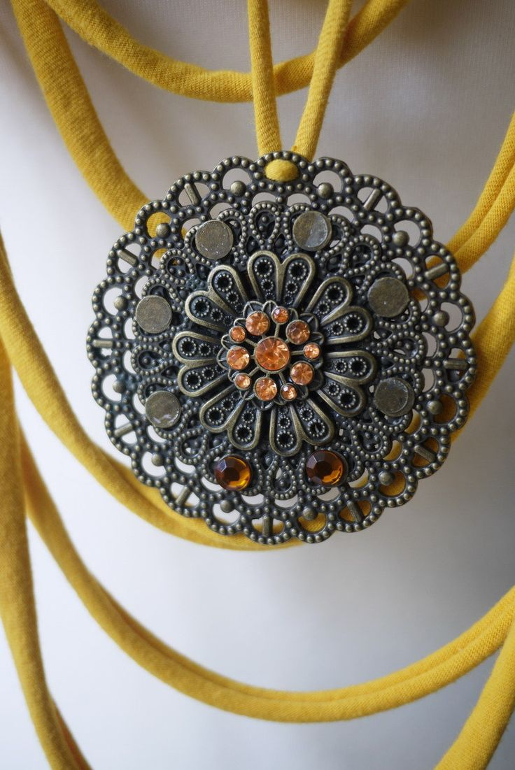 Upcycled t-shirt scarf: Energy yellows with huge pendant [335] by StripsUp on Etsy