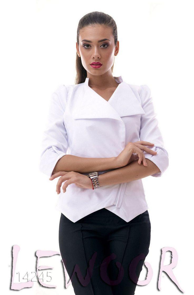 Стильный пиджак из габардина с косой змейкой - купить оптом и в розницу, интернет-магазин женской одежды lewoor.com