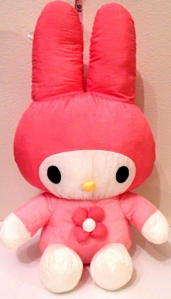 "Sanrio My Melody 1998 Plush 16"" Parachute Material Retro Stuffed Animal EUC"