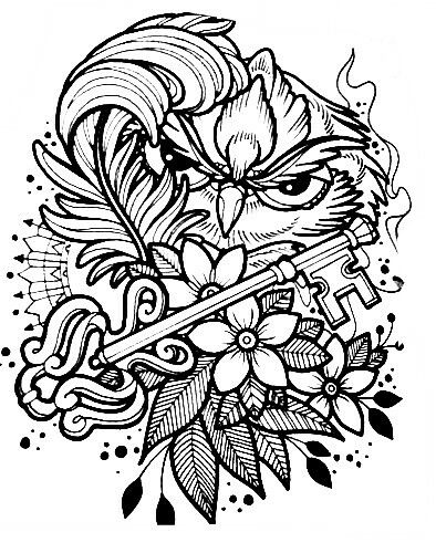 aztec owl coloring pages - photo#10
