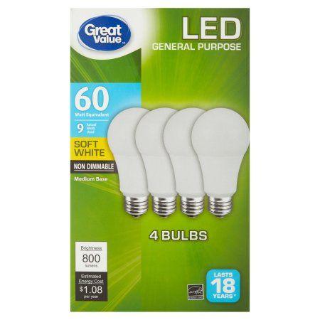 Great Value LED Light Bulb, 9W (60W Equivalent), Soft White, 4-Pack