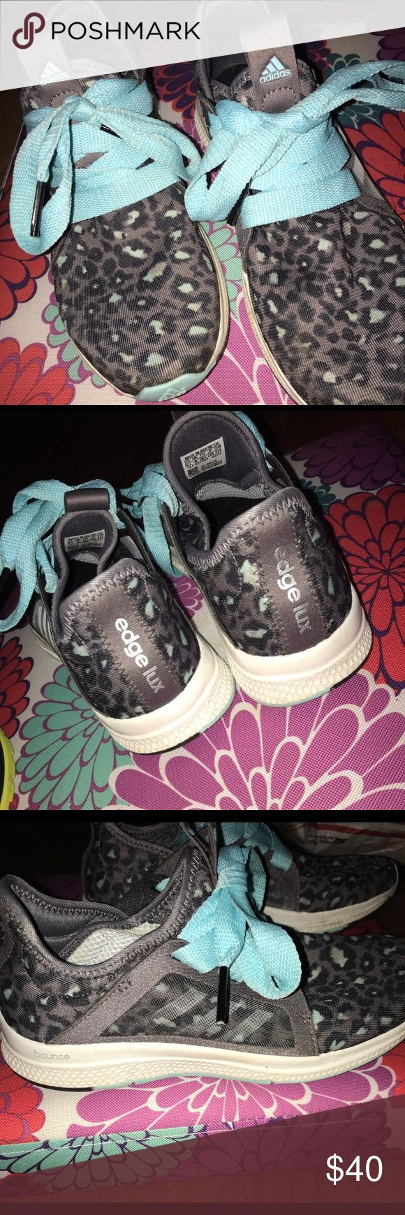 Adidas cheetah edge lux shoes Gray and baby blue cheetah print adidas shoes. Hardly ever worn! Great condition. No stains or worn looks adidas Shoes Athletic Shoes