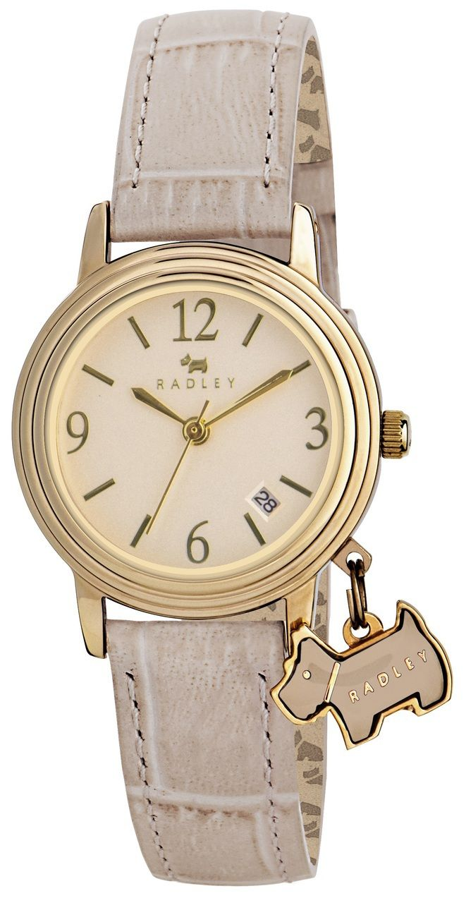 Radley ladies leather gloves - Radley Ladies Cream Dial With Date Window Leather Strap Watch With Dog Charm Ry2300