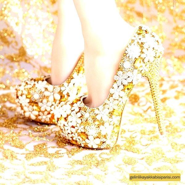 Sarı Gelinlik Ayakkabısı 2017