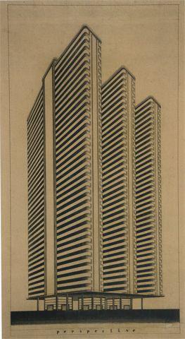 G.FIORINI Tensoestructura, edificio de torres, 1933 Archivio Centrale dello Stato, Roma