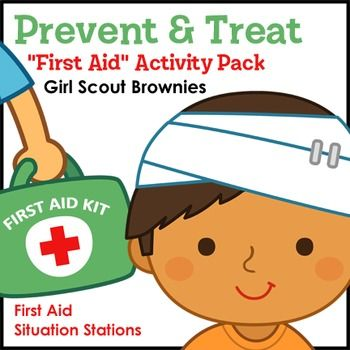 Girls Scout Brownies - First Aid badge - Steps 3, 4 and 5 - Brownies learn to prevent and treat bee stings, bruises, cuts and scrapes, poison ivy and oak, sunburns, and tick bites by referring to a badge-specific first aid guide and using pretend paper first aid kits as they rotate through six first aid situation stations featuring children with various minor and outdoor injuries.