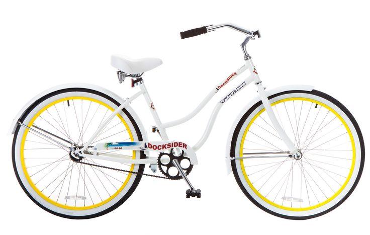 Titan Women's Docksider Beach Cruiser Single-Speed Bicycle, 17-Inch Frame, 26-Inch Wheels, Yellow Wheels, White