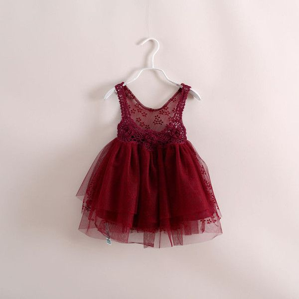 "The ""Olivia"" Burgundy Crochet Lace Infant Toddler Tulle Dress"