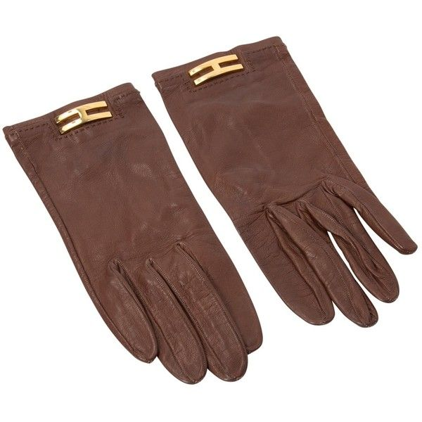 Pre-owned Hermès Leather Gloves ($269) ❤ liked on Polyvore featuring accessories, gloves, brown, leather gloves, brown leather gloves, real leather gloves, hermes gloves and brown gloves