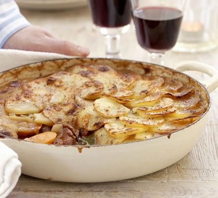Lancashire hotpot  This famous lamb stew topped with sliced potatoes should be on the menu at every British pub