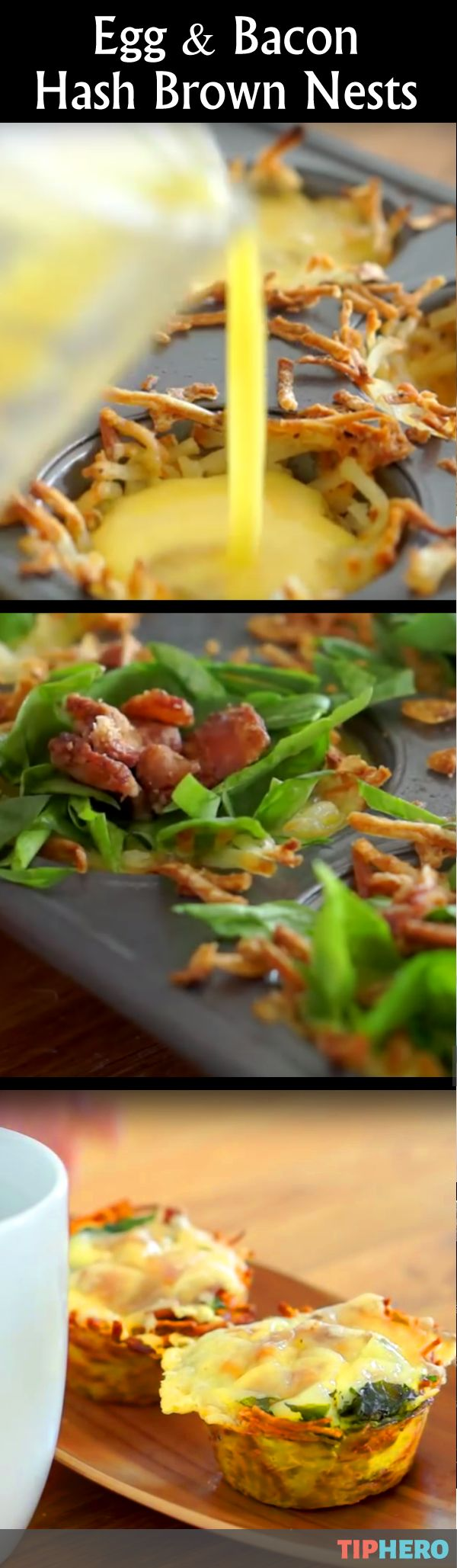 Egg & Bacon Hash Brown Nest Recipe | This adorable breakfast treat packs a lot of flavor in one little muffin tin. Potatoes, eggs, cheese, spinach and bacon combine to make for a tasty way to start your day. Perfect for brunch!