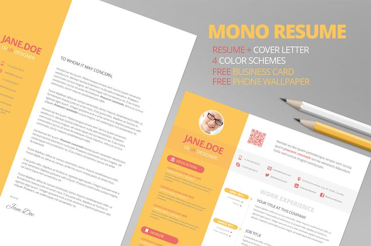 Mono Resume CV + FREE Business Card by Pixel Strawberry on Creative Market