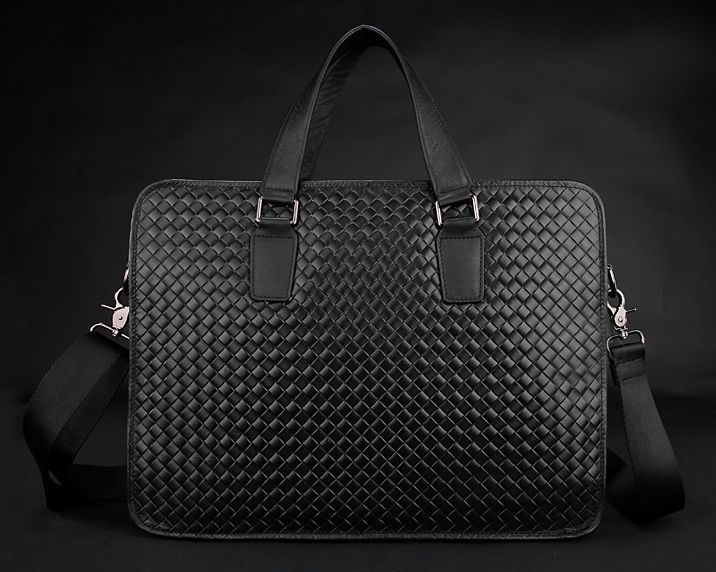 2016 New Luxury knitted Weave Men Leather Briefcase Business bag Genuine Leather briefcase men office Bag male work bag black