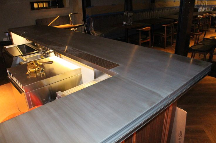This zinc bar started with a soon to change patina by mio for Zinc countertop cost