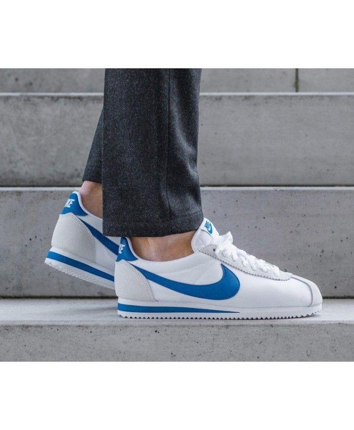huge discount 46be0 a181e Nike Cortez Homme Nylon Blanc Bleu