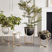 Spun Metal Standing Planter - Brass