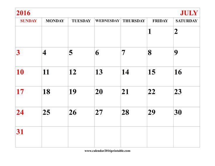 Blank july 2016 calendar hakkında Pinterestu0027teki en iyi 20+ fikir - microsoft word weekly calendar