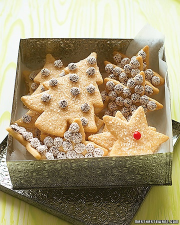 Cinnamon Sugar Cookies...sweet gift...a dozen trees and stars with nonpariels attached!
