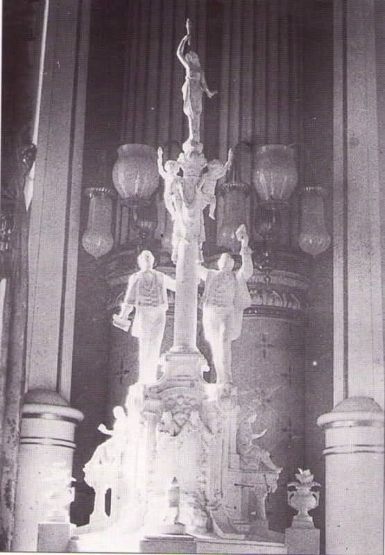 Statue that was previously found in the Celestial room of the SLC temple.  Joseph Smith, Hyrum Smith and a goddess (Venus?)